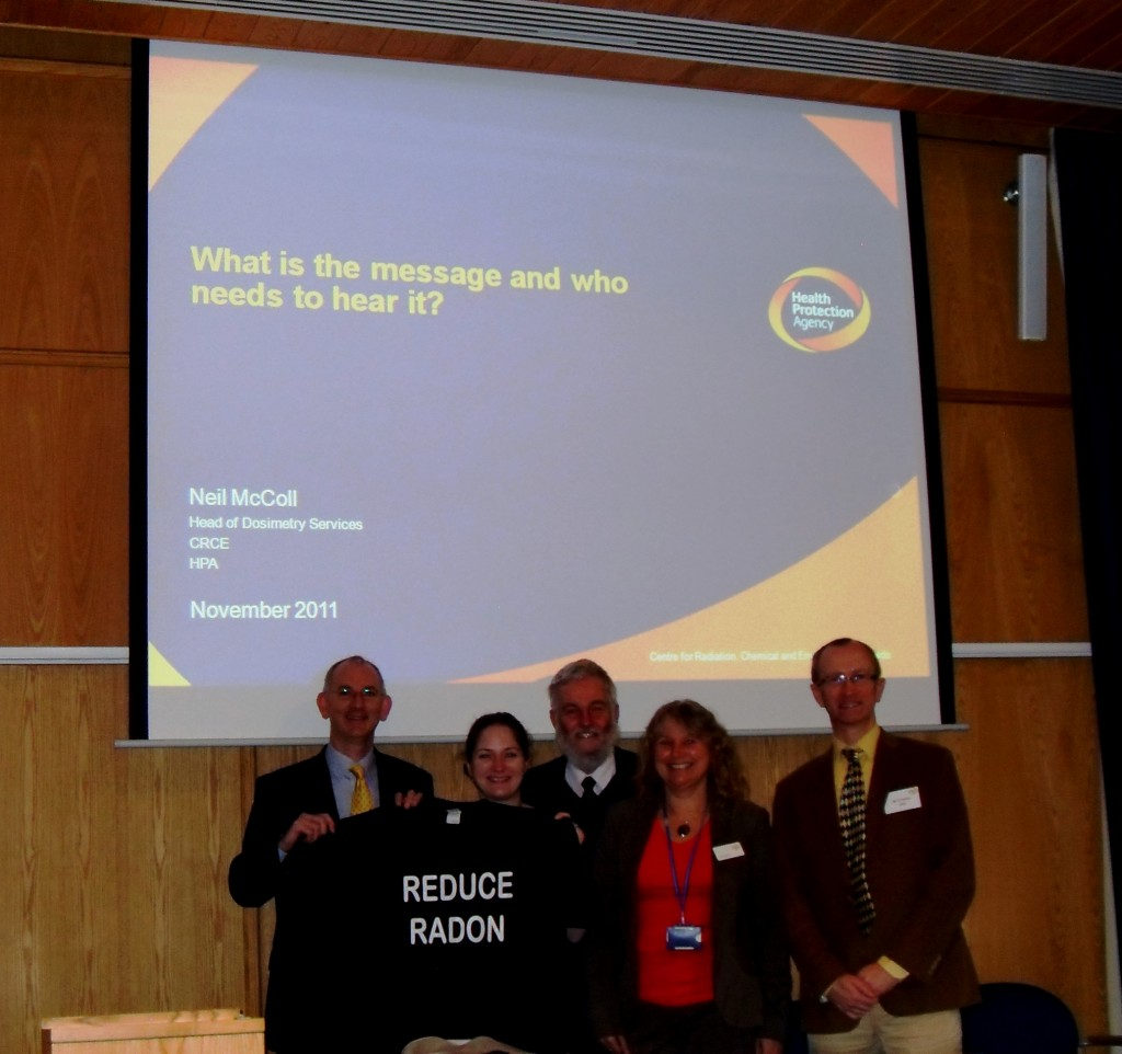 Radon Tee at HPA Radon Forum with Neil McColl, Nicky Hutt, Jane Bradley, Alex Stuart & David Fenton