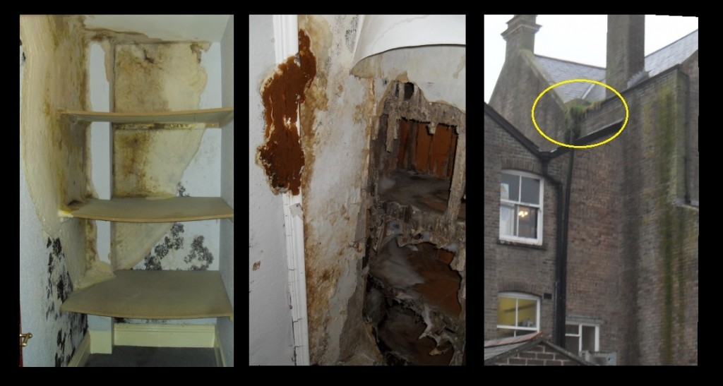 Dry Rot in Listed Building Caused by Blocked Gutter