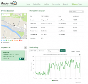 The RadonEye Plus Radon Net portal allows you to view real time data from multiple monitors remotely
